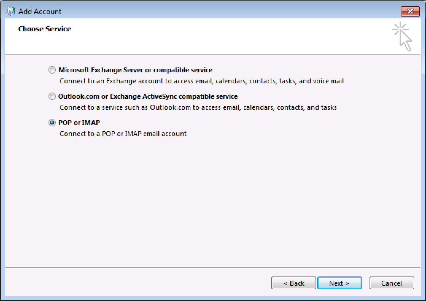 how to change from pop3 to imap in outlook 16